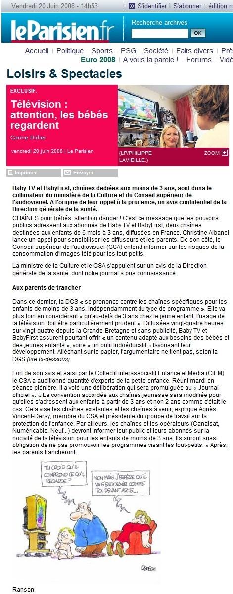 Le Parisien.fr, 20 juin 2008