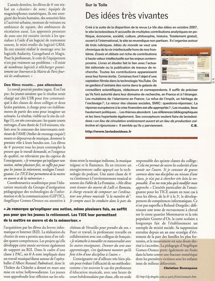Mettre l'informatique en musique, Le Monde de l'éducation, Mai 2008, page 2
