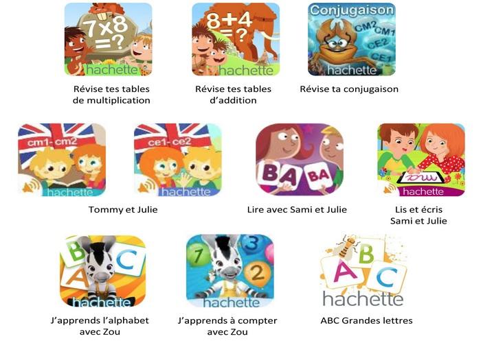 Applications scolaire Hachette pour les enfants