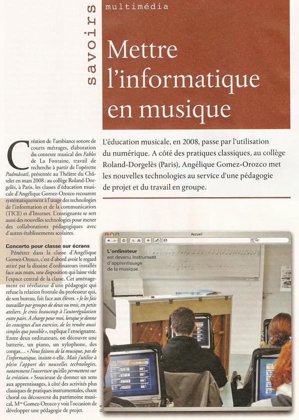 Mettre l'informatique en musique, Le Monde de l'éducation, Mai 2008, page 1